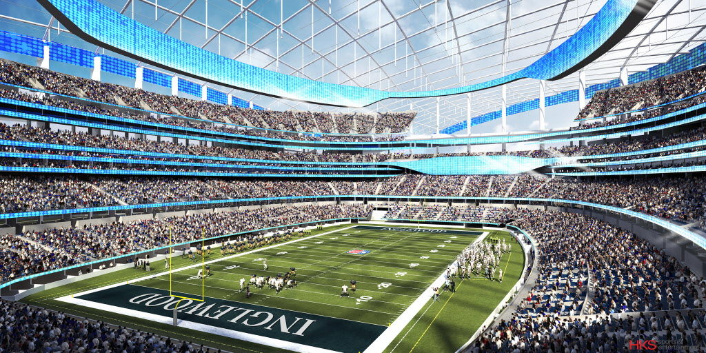 Rendering of new stadium in Inglewood, Calif.